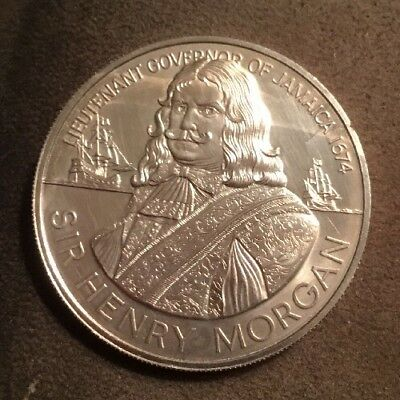 1974 1.2 Oz. Silver Ten Dollar Coin: Sir Henery Morgan: Lt. Governor Of Jamaica