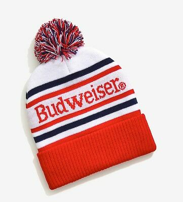 NEW BUDWEISER BUD Beer Vintage Classic Pom pom Cap Hat Beanie ... 766636689609