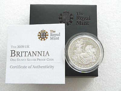 2009 Great Britain Britannia £2 Two Pound Silver Proof 1oz Coin Box Coa