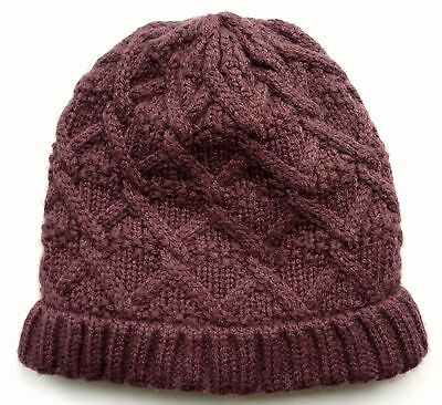ZARA Girls Kids Knitted MAUVE PURPLE Cable Aran Turned Up Beanie Winter Hat UK S