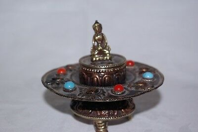 Antique Small Chinese Copper Brass Incense Burner Koro  with Buddha Figure