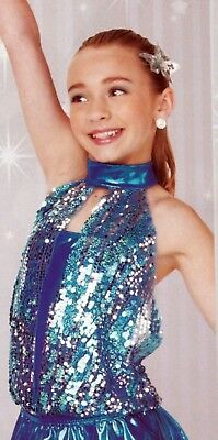 New  Dance COSTUME sequin turquoise leotard blue silver large child clear straps