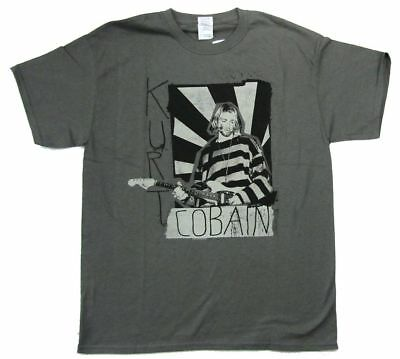Nirvana Kurt Cobain Striped Burst Image Grey T Shirt New Official Merch