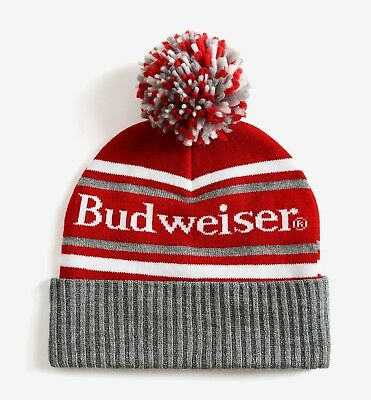 9406620100e9a NEW BUDWEISER BUD Beer Red Vintage Classic Pom pom Cap Hat Beanie ...