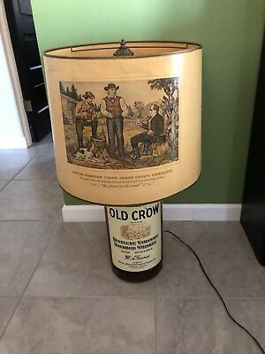 Rare Vintage Old Crow Whiskey Huge Table Lamp With Shade