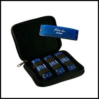 Hohner Blue Ice 3 Harmonica Pack in keys of C, D & G with Padded Carrying Case !