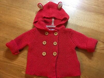 BODEN Coral Orange Animal Ear Hooded Cashmere Blend Cardigan Jacket Size 0-3 Mos