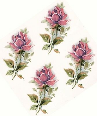 "2 Jeanette Pink Rose Crescent 5-1//2/"" Waterslide Ceramic Decals Xx"