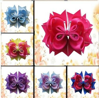 "10 BLESSING Girl Boutique 5.5"" Butterfly Hair Bow Clip Accessories"