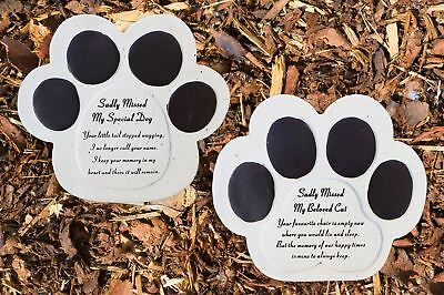 Pet Graveside Ornament Plaque Paw Cat Dog Sadly Missed Grave Stone