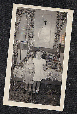 Antique Vintage Photograph Two Adorable Children Standing By Bed in Retro Room