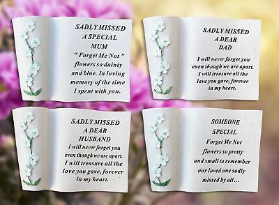 Memorial Graveside Ornament Plaque Forget Me Not Scroll