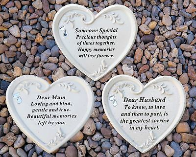 Memorial Graveside Ornament Diamante Heart Plaque Mum Husband David Fischoff