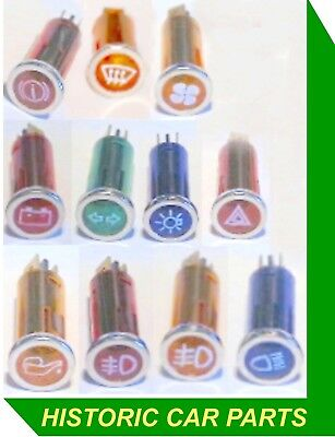 11 WARNING LIGHTS with ICONS for Accessories to suit Vauxhall Cars 1960-80s