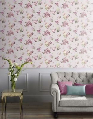 Arthouse Charmed Roses Floral Birds Butterfly Wallpaper Blush 889802