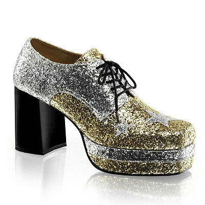 86eed9e3f50c Silver Gold Pimp Daddy 70s Disco Dance Party Platform Costume Mens Shoes