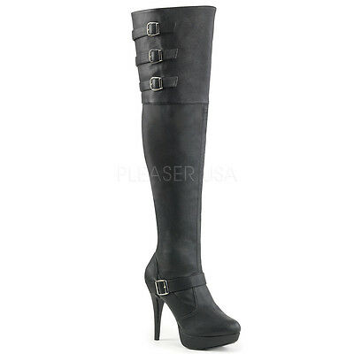 Black Thigh High Fetish Dominatrix Drag Tranny Wide Width Boots size 13 14 15 W