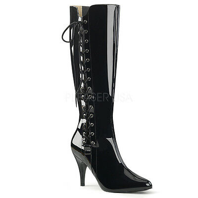"4"" Black Patent Lace Up Fetish Mens Drag Crossdresser Boots in Womans size 13 14"