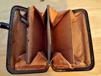 RARE COLLECTIBLE ANTIQUE 1800's Leather Coin Purse Wallet with Metal Clasps