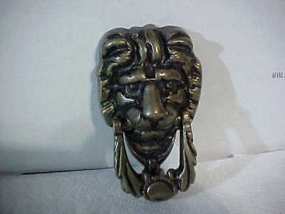 "Old  Brass  Art Nouveau  Lions Head  Door Knocker 6"" Mountable Retro Man Cave"