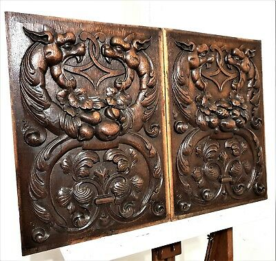Pair Griffin Dragon Panel Antique French Hand Carved Wood Architectural Salvage
