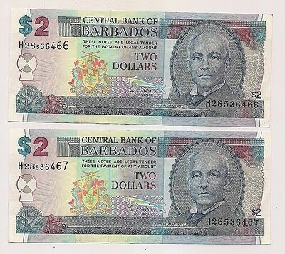 Two Consecutive Numbered Two Dollar Barbados Banknotes--P#60 !!
