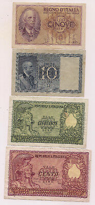 Four Italy Banknotes--Nice condition !!