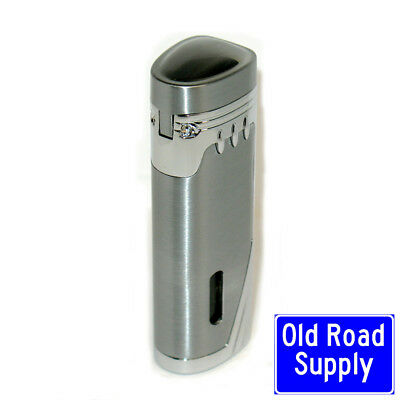 ARC Brushed Triple Blue Jet Torch Lighter Cigar Punch Fuel Window IN STOCK