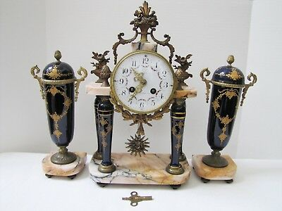 Antique French Le Roy Le Malmaison Porcelain Marble Clock w/ Pair of Urns