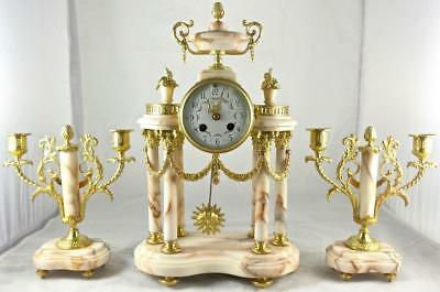 Antique 19th c French Gilt Ormolu Bronze & Marble Portico Mantel Clock Set
