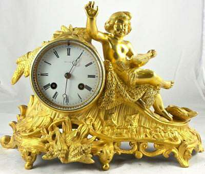 Antique French 19thc Figural Gilt Ormolu Bronze 8 Day Bell Striking Mantle Clock