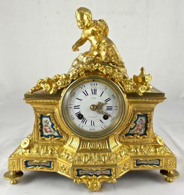 Superb antique French 19th c gilt ormolu bronze & Sevres porcelain mantle clock