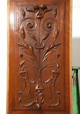 Hand Carved Wood Panel Antique French  Walnut Bow Fruit Architectural Salvage