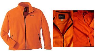 16b0f7207eeb7 NEW 3XL XL Med Cabela's Fleece Blaze Orange Coat Jacket Safety Base Camp  Hunting