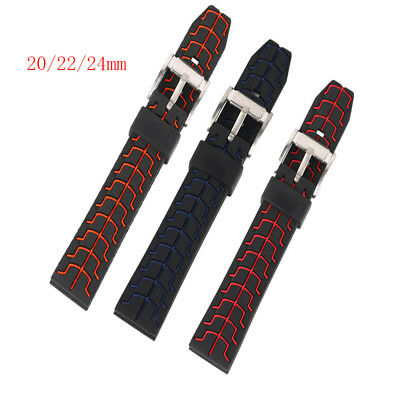 20/22/24mm Red/Blue Silicone Watch Band Replacement 2 Spring Bars Waterproof