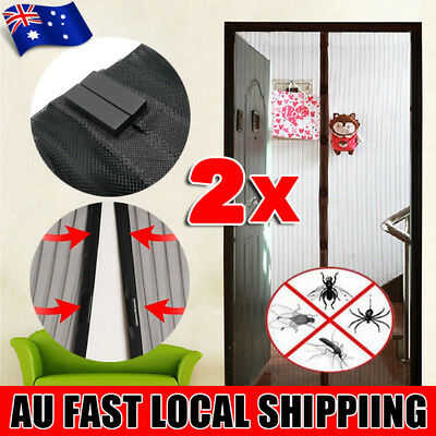 2x Set Mesh Magnetic Door Black Fly Screen Magic Magna Mosquito Bug Curtain