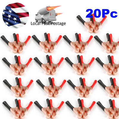 20Pcs 50A  Insulated Heavy Duty Battery Alligator Clip Clamps 10Red + 10Black