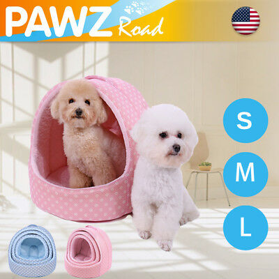 Self Cooling Dogs Bed Small Pet Cat Cushion House Portable Foldable Cave Indoor