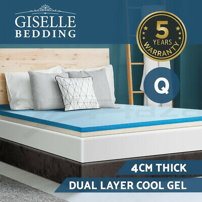 Giselle Bedding 4CM Cool Gel Memory Foam Mattress Topper Dual Layer Cover Queen