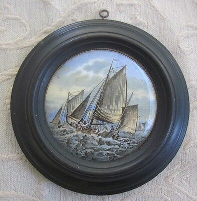 antique PRATTWARE POT LID Hauling in the Trawl 1860s issue wooden FRAME