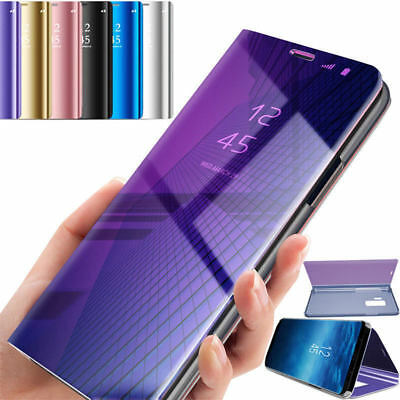 For Samsung Galaxy S9 Plus Smart View Mirror Leather Flip Hard Stand Case Cover