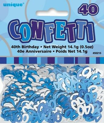 Blue Glitz Age 40 Birthday Table Confetti 14 Gram Packet 40th Party Decorations