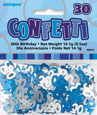 Blue Glitz Age 30 Birthday Table Confetti 14 Gram Packet 30th Party Decorations