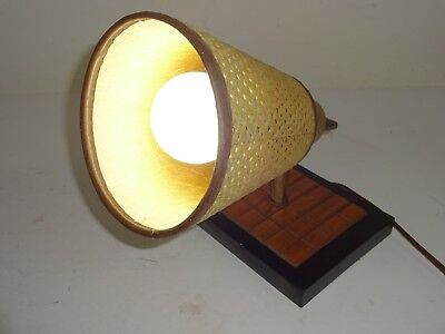 MCM HOTEL STYLE Light Wall Sconce Wood Brass & Wicker Underwriter Laboratories