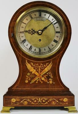 Antique C1850 English 8 Day Single Fusee Inlaid Walnut Balloon Bracket Clock
