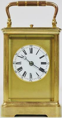 Antique 19thc French 8 Day Brass & Glass Mask Dial Repeating Carriage Clock