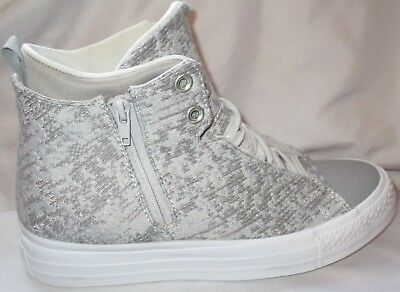 09e21b1d65a376 Women s Converse All Star Ctas Selene Winter Knit Mid Grey white Shoes Size  8