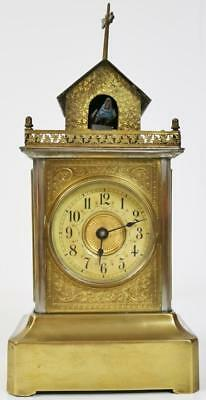 Extremely Rare Antique German Junghans Automaton Cuckoo Mantel Carriage Clock