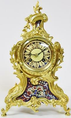 Rare Antique French 8 Day Bronze Ormolu & Champleve Enamel Rococo Mantel Clock