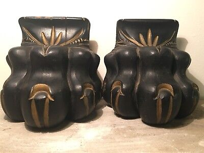 Pair Antique Carved Victorian Black Forest Style Lion Paw Corbel Bookends